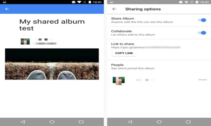 Funcția de distribuire a fotografiilor Google